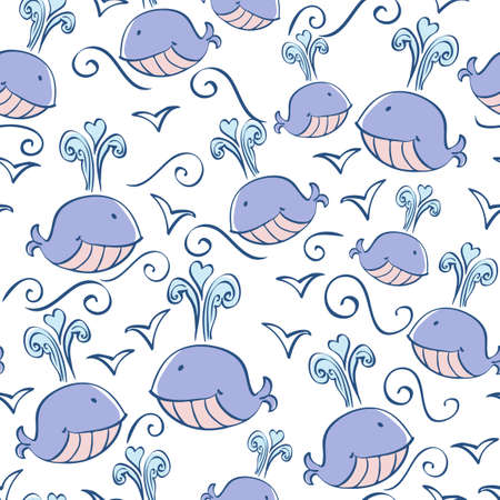 seamless pattern with doodle whales Vector