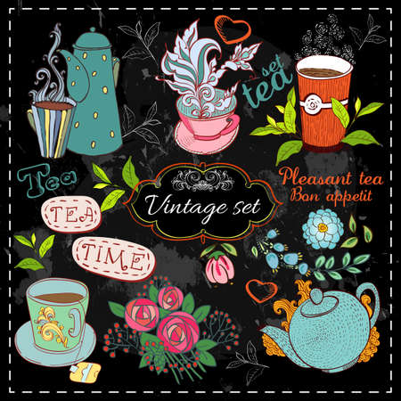 Set of tea collection with a tea cup and flowers in vintage style stylized drawing with chalk on blackboard.