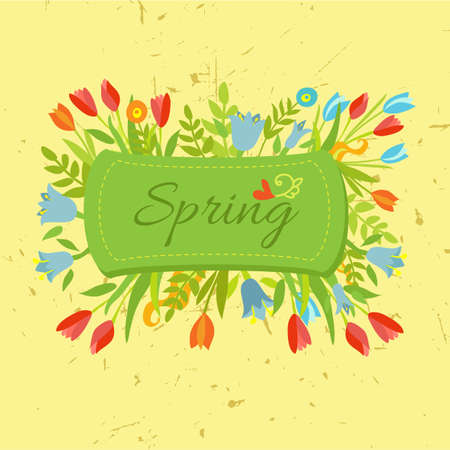 Spring label with colorful flowers Vector
