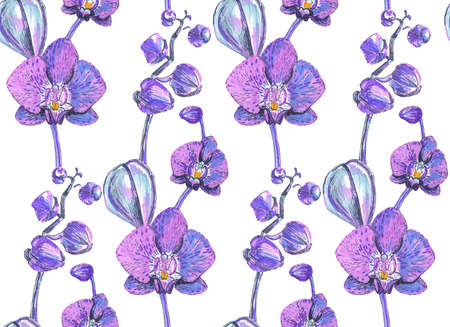 seamless texture with pink orchids painted markers photo