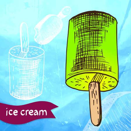 Doodle ice cream frozen dessert style sketch in vector format Vector