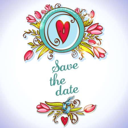 invitacion boda vintage: Tarjeta floral de la invitaci�n de boda de la vendimia Vectores