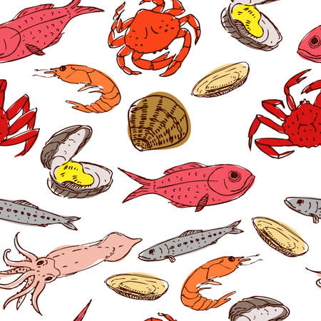 seafood seamless Vector