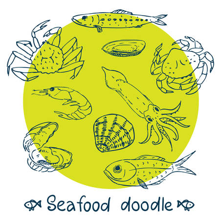 scribble series  seafood vector set Vector