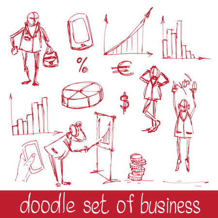 Doodle business people Vector