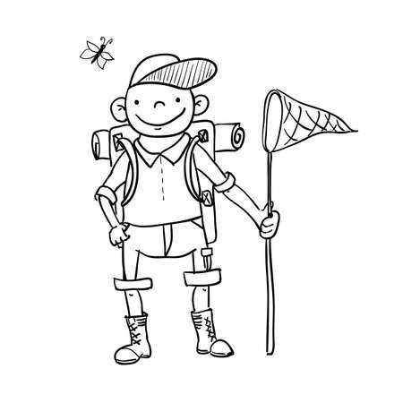 guia turistica: Hombre con el bolso de turismo, sombrero Vectores