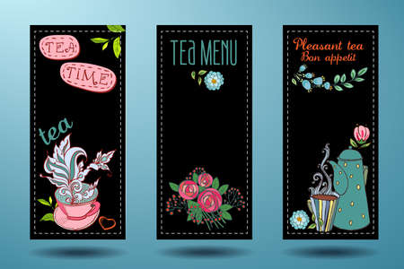 banners with cups, teapots and tea, tea card  Vector