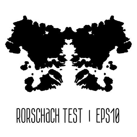Rorschach inkblot test illustration, random abstract background. Vector