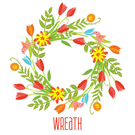 Floral Frame of cute retro flowers  Vector