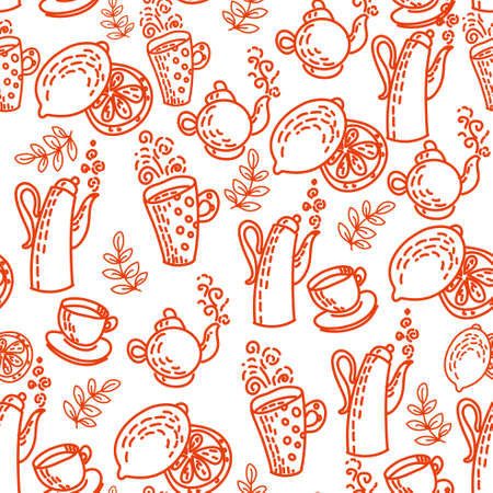 Red Seamless Pattern with Tea Cups  Vector