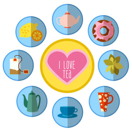 continental food: icon set with tea in flat style
