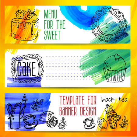 Set of coffee and tea vintage banners. Hand drawn sketch illustrations and watercolor stains. Menu design backgrounds Vector