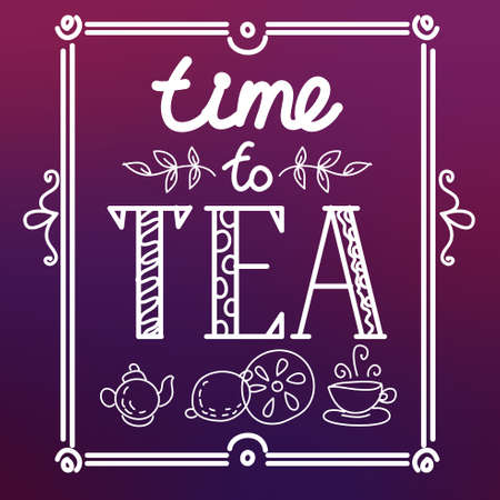 Icon set with tea in flat style. I love tea. Vector