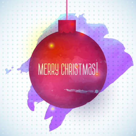 Christmas ball  red abstract watercolor background Vector