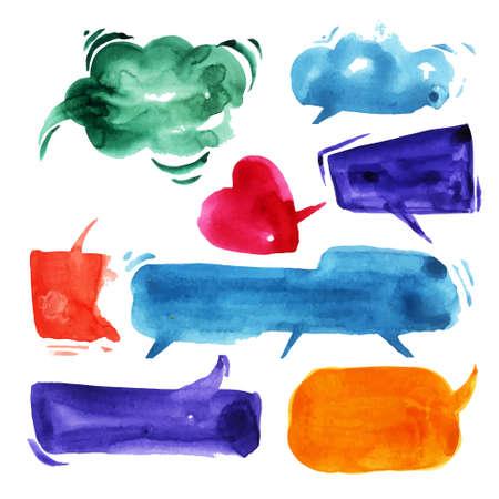Talking clouds in watercolor  Vector