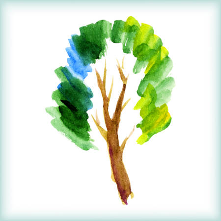 nature one painted: watercolor green tree