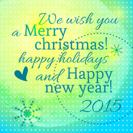 Lettering with the new year and merry christmas on blue background with yellow texture watercolor Vector