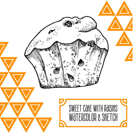 cake with raisins and watercolor sketch painted hands Vector