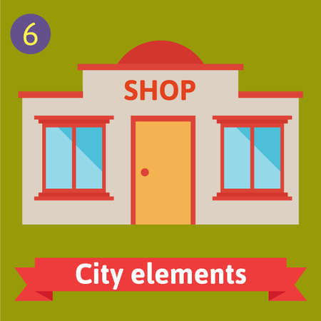 Store shop buildings Vector flat icons and illustrations Vector