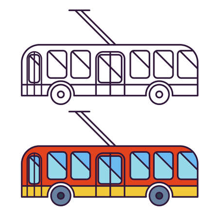 trolleybus: Classic trolleybus flat icon, line icon. Round headlights.  For maps, schemes, applications and infographics. Illustration