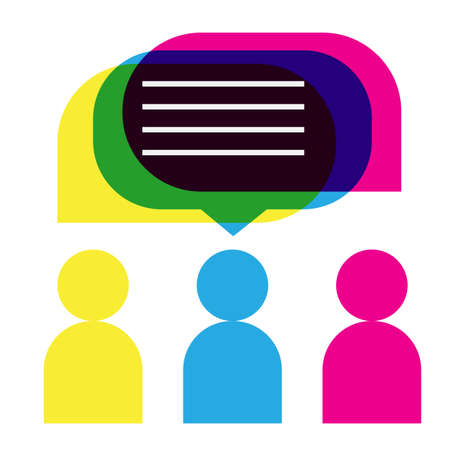 people icons with colorful dialog speech bubbles in flat style. The idea of communication. Çizim