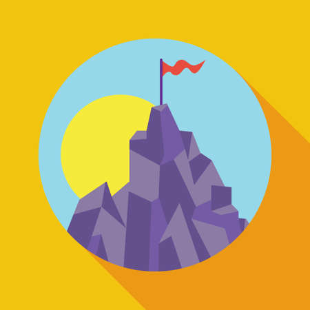 sleek: Vector illustration, concept of success and achievement. Victory, achievement of objectives, results, strategy. Top of the mountain with a red flag and the sun. Sleek style.
