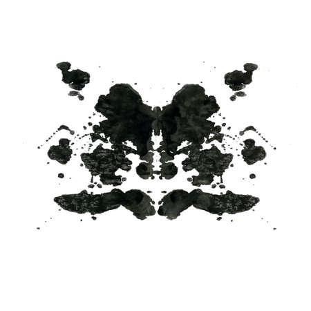 Rorschach inktvlek test illustratie, willekeurige abstracte achtergrond.
