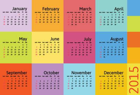 scheduler: Vector flat calendar 2015 Illustration