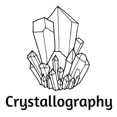 mineralogy: black and white vector pattern with crystals Doodle