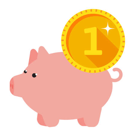 Infographics of Three piggy pig with coins show the investment strategy and savings deposits
