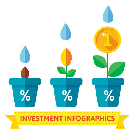 growth: Infographics of flowers in pots, shows the growth of investment and savings in time, flat style
