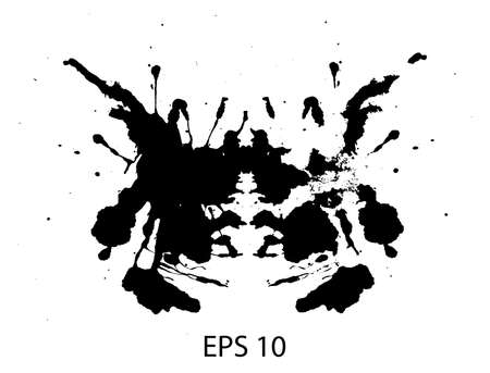 Rorschach inkblot test illustration, random abstract background.