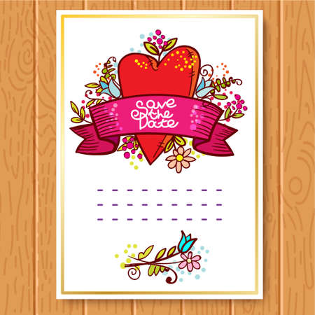 space for type: Save The Date, Wedding Invitation Card. Red heart, ribbon, flowers in cartoon doodle style.