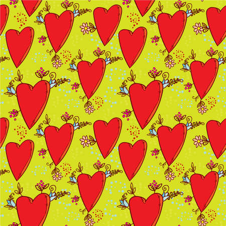 Seamless Pattern With Hearts And Flowers With A Doodle Style