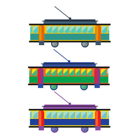 streetcar: Tram, streetcar multicolored. Transportation Flat Icon. Vector