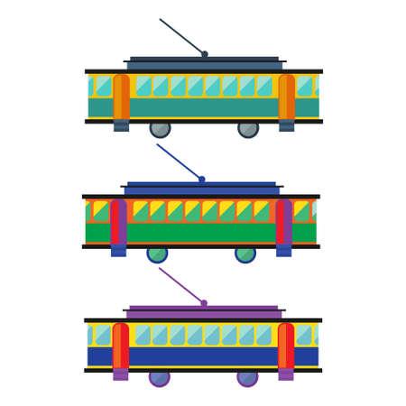 streetcar: Tranv�a, tranv�a multicolor. Icono plana Transporte. Vector