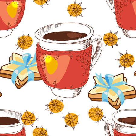star anise: Seamless texture cup of tea, coffee, in knitting, cookies in the form of stars and star anise with doodle style