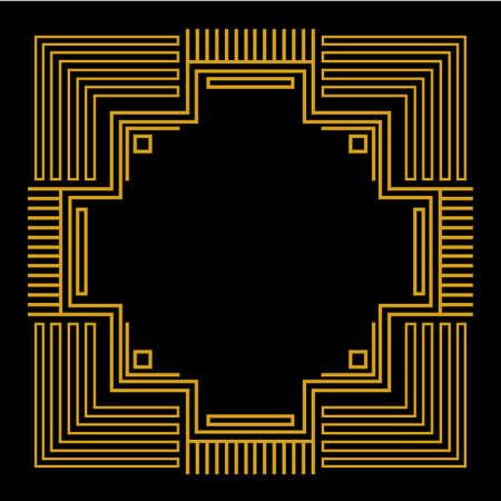 line art: Marco con geom�trica oro Vectores
