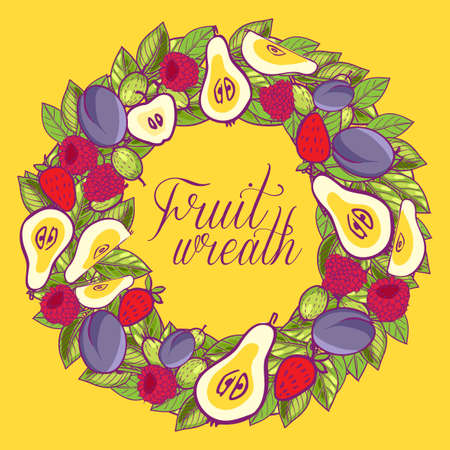 Vintage wreath with berries, apples, pears, plums leaves Vector