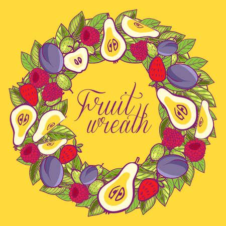 Vintage wreath with berries, apples, pears, plums leaves Vector