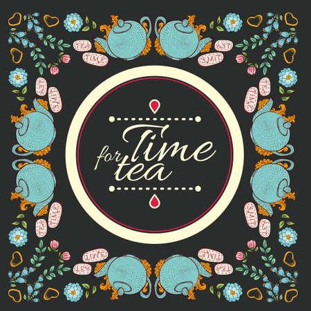 """tarde de cafe: t� de la flor guirnalda marco """"hora del t�"""""""