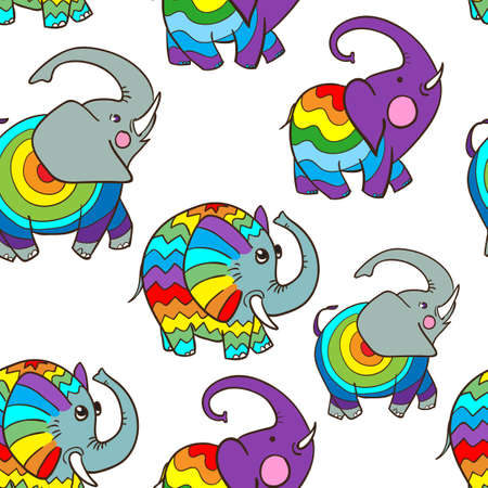 Seamless pattern of cute cartoon elephant style doodle Ilustrace