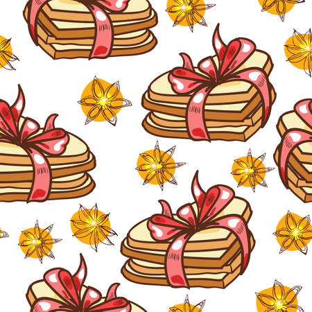 Seamless pattern with heart-shaped cookies Vector