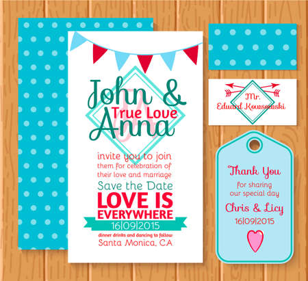 Set wedding printing white and blue, invitation, rsvp, tag for your design. Vector