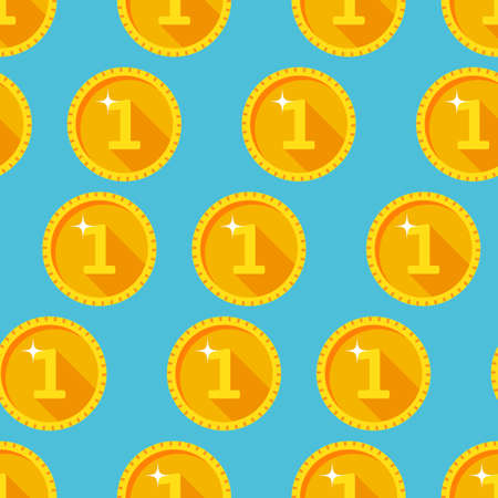 Seamless texture with golden coins flat style Vector