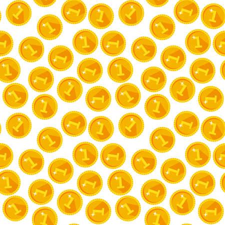 Seamless texture with golden coins flat style Ilustração