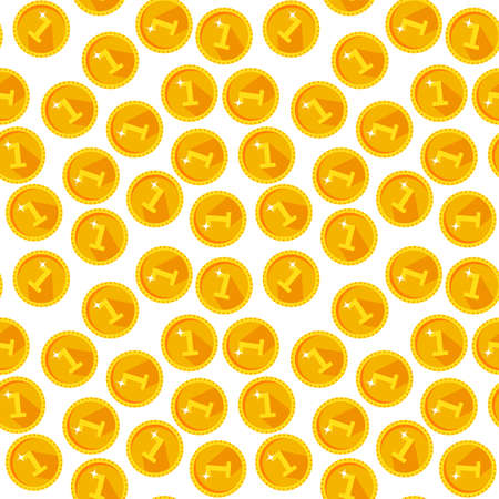 Seamless texture with golden coins flat style Illustration
