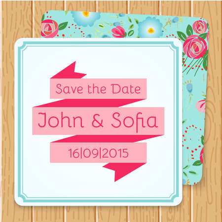 Vintage floral wedding invitation square shape Vector
