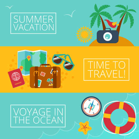Concepts and banners  of travel, summer Vector
