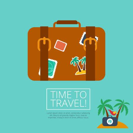bagage leer koffer met reizen sticker
